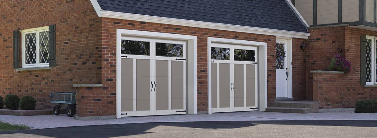 Eastman E-12, 8' x 7', Claystone doors and Ice White overlays, Clear Panoramic windows